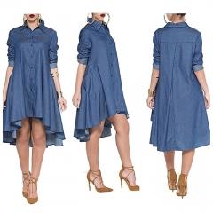 Women Irrregular Causal Elegant Midi Dress Long Sleeve Denim Dress s blue