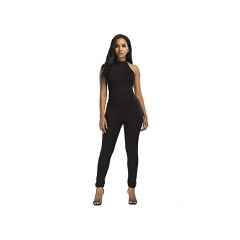 Women's Leisure Jumpsuits Backless Irregular Overlapping Solid Color Sexy Slim Jumpsuits Long Pants black m