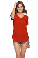 Plain Tops Women Cotton Elastic Basic T-shirts Female Casual Tops Short Sleeve T-shirt Women red s