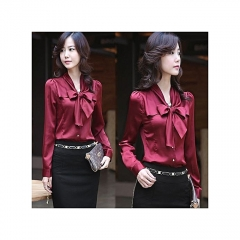 Women's Blouse Chiffon V-Neck Tops Long Sleeve Office Ladies Going Out Shirt red s