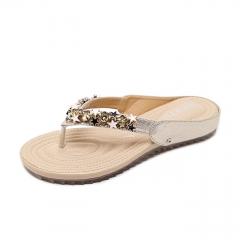 Women Sandals Bohemian Beaded Soft Slipper Comfortable Flats Beach Slippers black 35
