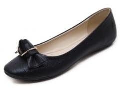 Generic Large Size Women's Basic Flats Shoes Metal Button Round Comfortable Shoes Single Shoes black 35