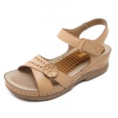 Vintage Ladies Flat Sandals Solid Color Flower Design Flip Flop Female Casual Sandals apricot color 36