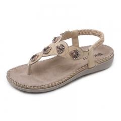 Women Bohemia Crystal Flat Sandals Back Strap Solid Female Fashion Flip Flops Lady's apricot color 35