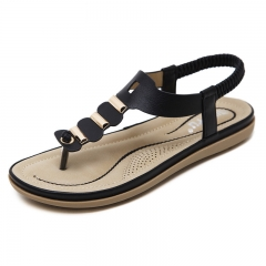 Generic Large Size Women's Sandals New Casual Metal Button Toe Flat Shoes Beach black 35