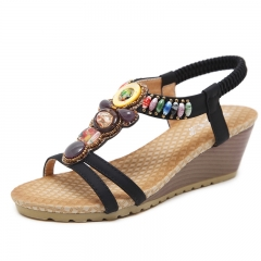 Large Size Female Sandals Beaded Bohemian Shoes Woman Sandals Wedge Platform black 35