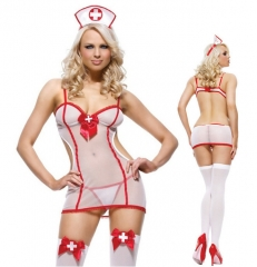 Sexy lingerie Sexy Uniform Temptation Cosplay Temptation Nurse Uniform Bodysuit white one size