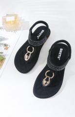 Leather Women Sandals Bohemian Diamond Slippers Woman Flats Flip Flops Shoes Summer Beach black 35