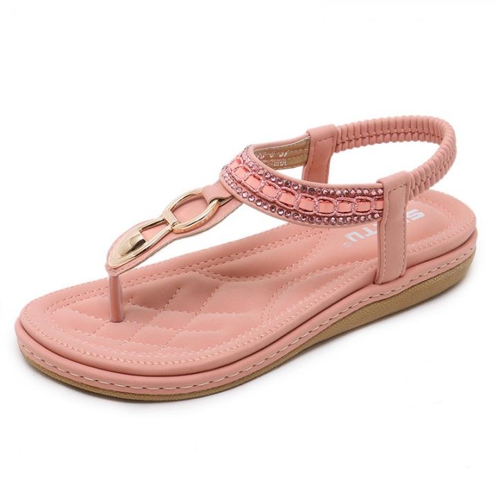 5648137ed0a77 Leather Women Sandals Bohemian Diamond Slippers Woman Flats Flip Flops Shoes  Summer Beach pink 41