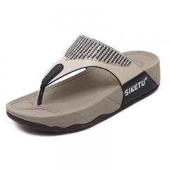 Women Flip Flops Summer High Quality Fashion Crystal Women Slippers black 35