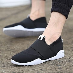 Men Slip-Ons Higher Shoes Men's Casual Shoes Breathable Canvas Sneakers Shoes For Men black 43