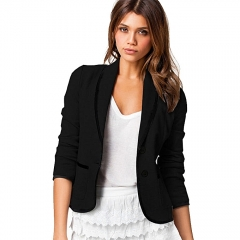 Plus Size Formal Jacket Women's Pure Black Female Women Suit Office Suit Ladies Wear To Work black l