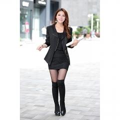 Spring Autumn New Fashion Women's Korean Style Zippe RLong Suit Jacket Female black s