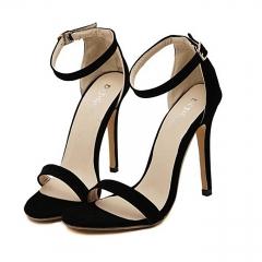 Women Shoes High Heels Sandals Shoes Woman Party Wedding Ladies Pumps Ankle Strap Buckle Stilettos black 35