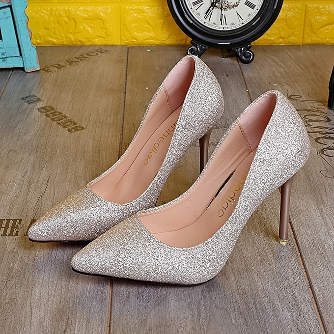 Women Pumps Sexy Black Gold Silver High Heels Shoes Fashion Luxury Rhinestone Wedding Party Shoes gold 35