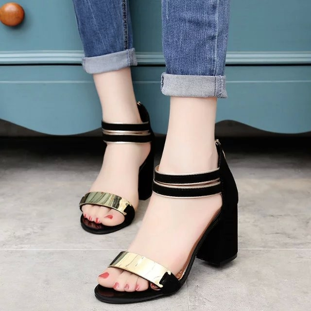 Women Shoes Sandals Summer Ankle Wrap Sandals High Heels Chunky High Heel Work Shoes black 36