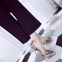 Fashion High Heels Newest Women Pumps Summer Women Shoes Thick Heel Pumps Comfortable Shoes gold 35