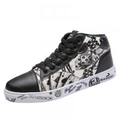 Men's Shoes Super Large Size Sport Shoes Men's Casual Board Shoes Lace-Up Outdoors Sneakers black 39