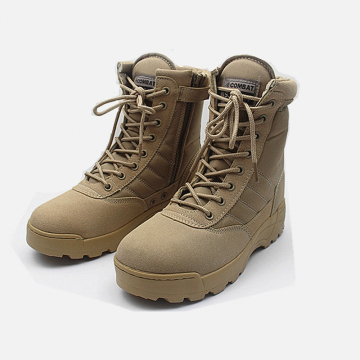 Military Tactical Combat Outdoor Army Men Boots Desert Botas Hiking Shoes Travel Leather High Boots khaki 39