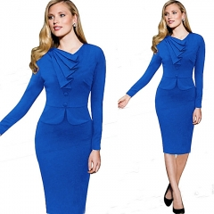 Midi Dresses For Business Women Wear To Work Casual Silm Dress Long Sleeve s blue