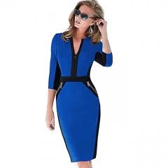 Women Workwear Stylish Stretch Dress Chocolate Midnight Pencil Spring Business Casual Dresses s blue