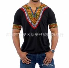 Men's T-Shirt Fashion Africa Ethnic Style Short Sleeve V-neck Print Cotton Simple Pullover black s cotton