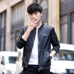 Men's Casual Jackets Fall New Korean Fashion Badge Jackets Youth Wild Slim Men's Jackets black m