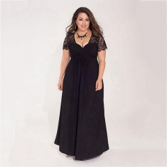 Women's sexy V-neck lace short-sleeved loose fat crush large size solid dress xxl black