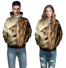 Women men 3D Printed Lion Long Sleeve Hooded Sweatshirt Tops Blouse Sportswear Skateboarding Hoodies Picture color s