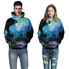Men Hoodies Long Sleeve Pullover Hat Sweatshirts 3D Print Starry Sky Tracksuits Women Casual Tops picture color s