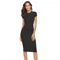 Ladies Casual Short Sleeve Bandage Bodycon Dress Vestidos Office Business Dress s black