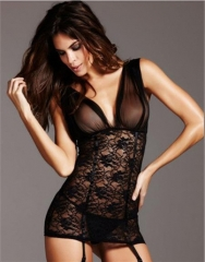 Sexy Lace Nightwear Erotic Lingerie Sleepwear Sexy Big Lace Perspective Deep V Sexy Lingerie black one size