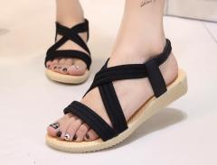 Sandals female summer new simple flat fish mouth sandals elastic band Roman sandals black 35