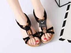 Women's sandals new summer bohemian flat fish mouth sandals beaded hand-woven Roman sandals black 35