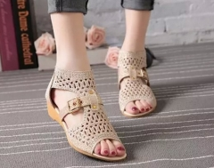 women's shoes high to help fish mouth hollow sandals women's zipper wedge with rhinestones shoes gold 35