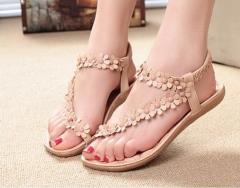Women's Summer Toe Flower Flat Sandals Women pink 35
