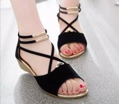 Women's shoes summer straps solid color sandals women black 35