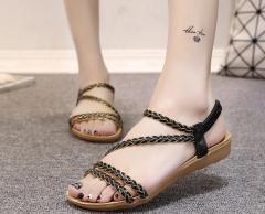 Women's shoes summer flat sandals braided sandals women black 36