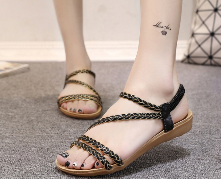 7cb3284c9 Women s shoes summer flat sandals braided sandals women black 36 ...