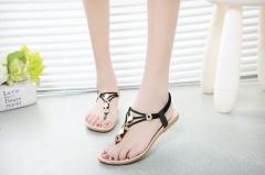 Sandals fashion beaded women's sandals flat summer women black 35