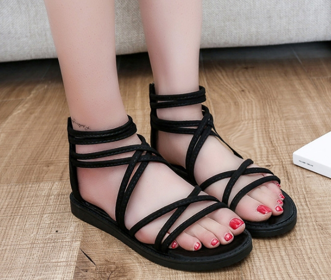 3107ae9b8330 Women s shoes summer flat fish mouth solid color sandals women black ...