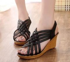 Women's shoes summer wedges with muffin platform sandals women black 35