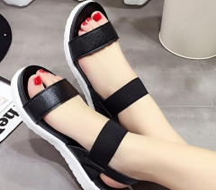 Sandals female muffin thick-soled elastic buckle with summer women's shoes black 35