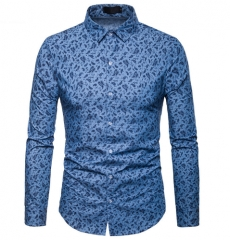 Men's Shirt Men Long Sleeve Shirt Cashew Print Lapel Fashion Shirt Brand Male Slim Fit Casual Shirt light blue s