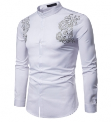 Men Shirt Long Sleeve Fashion Shirt Court Style Embroidered Henry Collars Shirt Casual Slim Shirts white s