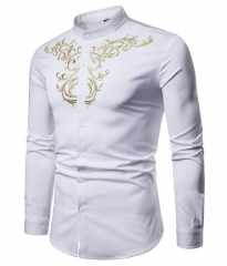 Men Shirt New Long Sleeve Brand Shirt Court Style Embroidered Henry Collars Casual Slim Fit Shirt white s