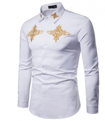 Men Shirt Fashion Long Sleeve Shirt Palace Style Embroidery Turn-Down Collar Casual Slim Fit Shirts white s