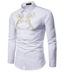 Men Shirt Autumn Men Long Sleeve Shirt Palace style Embroidery Fashion Shirt Casual Slim Fit Shirts white s