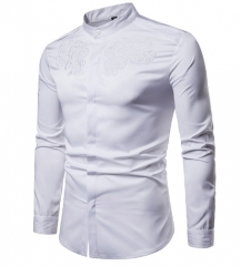 New Fashion Men Shirt Court Style Embroidered Henry Collars Long Sleeve Shirt Casual Slim Fit Shirts white s