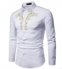 Men Shirt Fashion Long Sleeve Shirt New Palace Style Embroidery Slim Fit Male Shirts Turn-Down Shirt white s